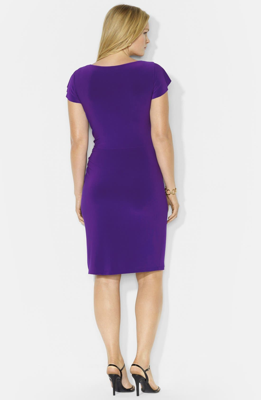 Alternate Image 2  - Lauren Ralph Lauren Flutter Sleeve Dress (Plus Size)
