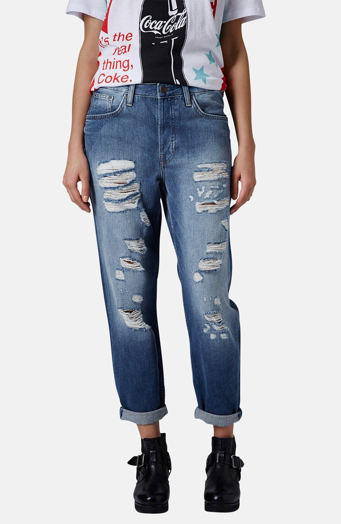 Main Image - Topshop Moto 'Hayden' Destroyed Boyfriend Jeans (Mid Denim)