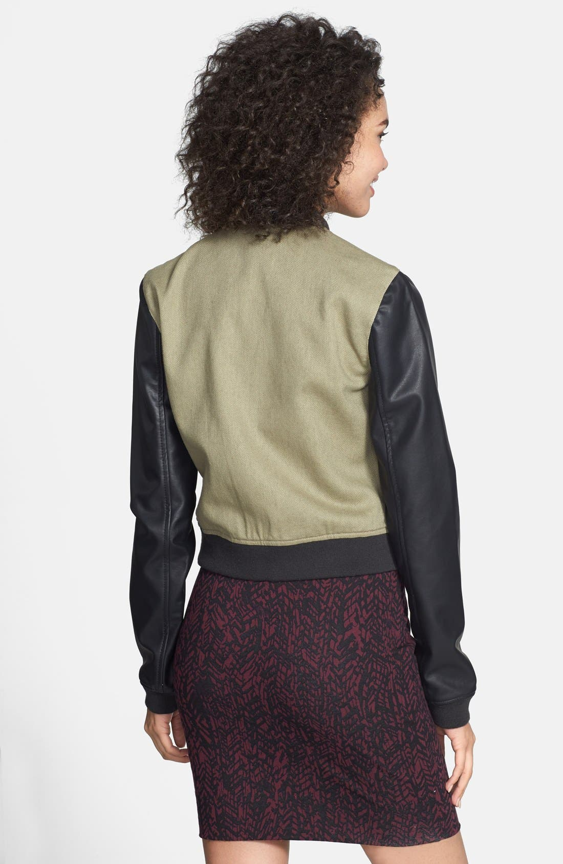 Alternate Image 2  - Collection B Faux Leather Sleeve Bomber Jacket (Juniors)