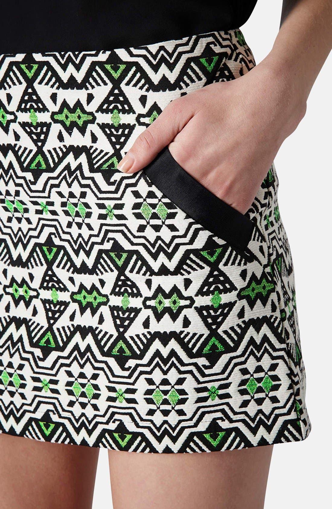 Alternate Image 4  - Topshop Geo Jacquard Miniskirt