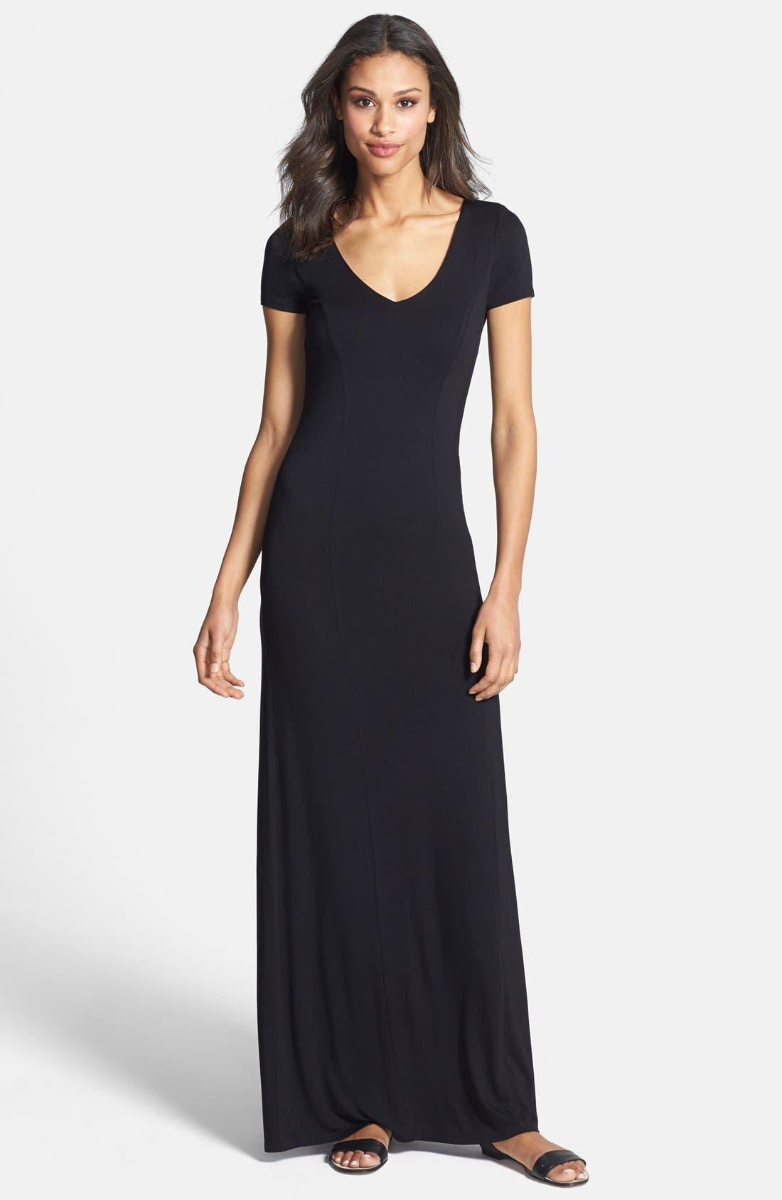 Lattice Back Jersey Maxi Dress,                         Main,                         color, Black