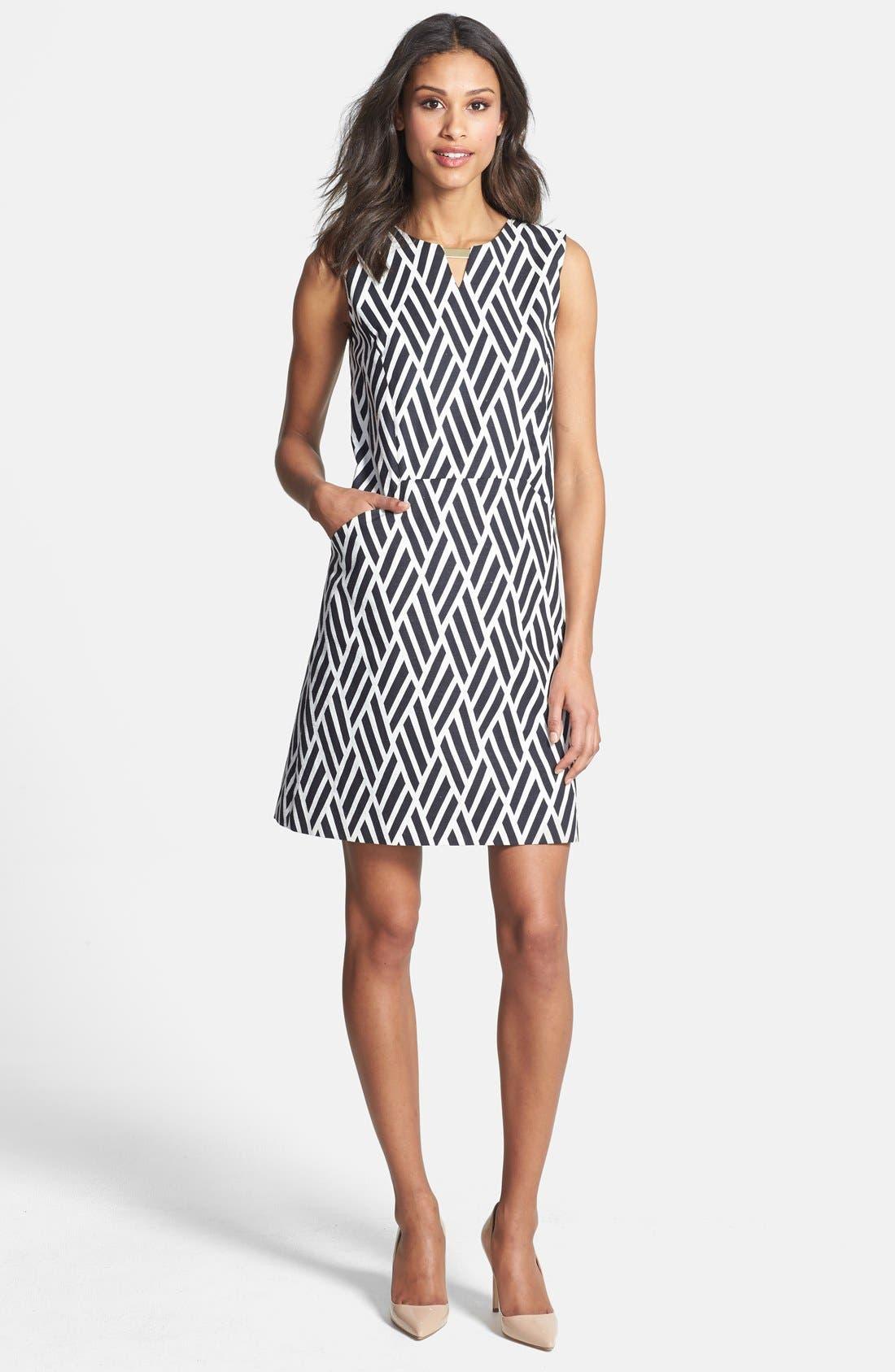 Alternate Image 3  - Tahari Jacquard Cotton Blend Shift Dress