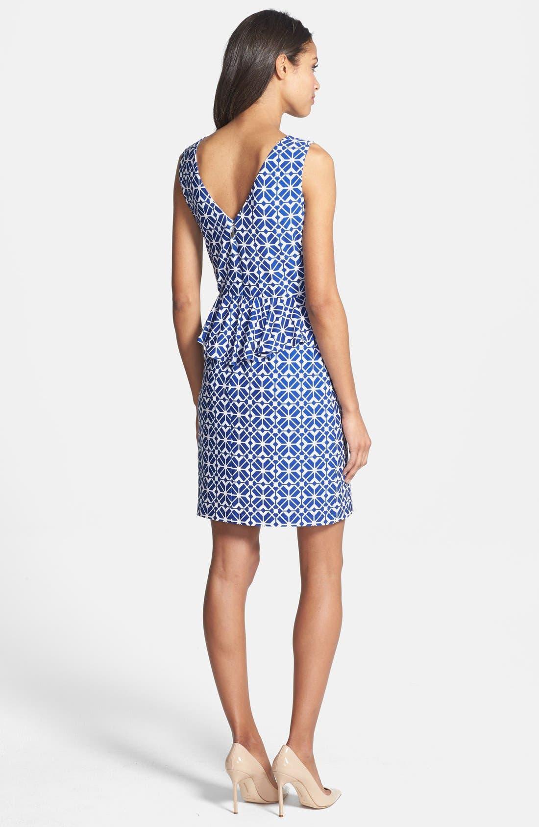Alternate Image 2  - Donna Morgan Print Jersey Peplum Sheath Dress