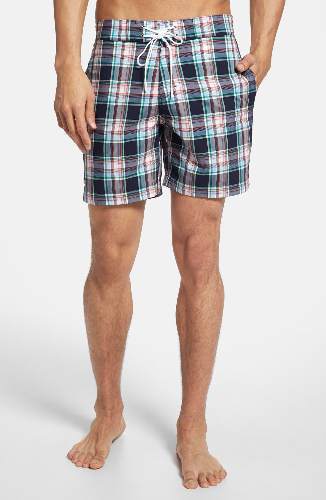 Main Image - Lacoste Plaid Swim Shorts
