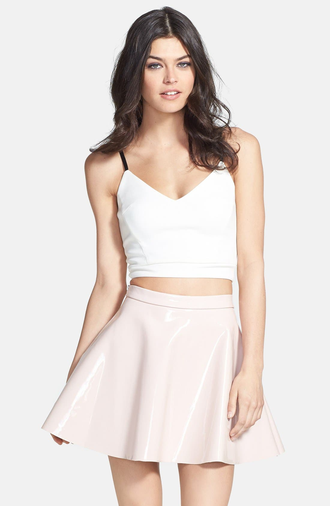 Alternate Image 1 Selected - Glamorous Contrast Strap Ponte Crop Tank