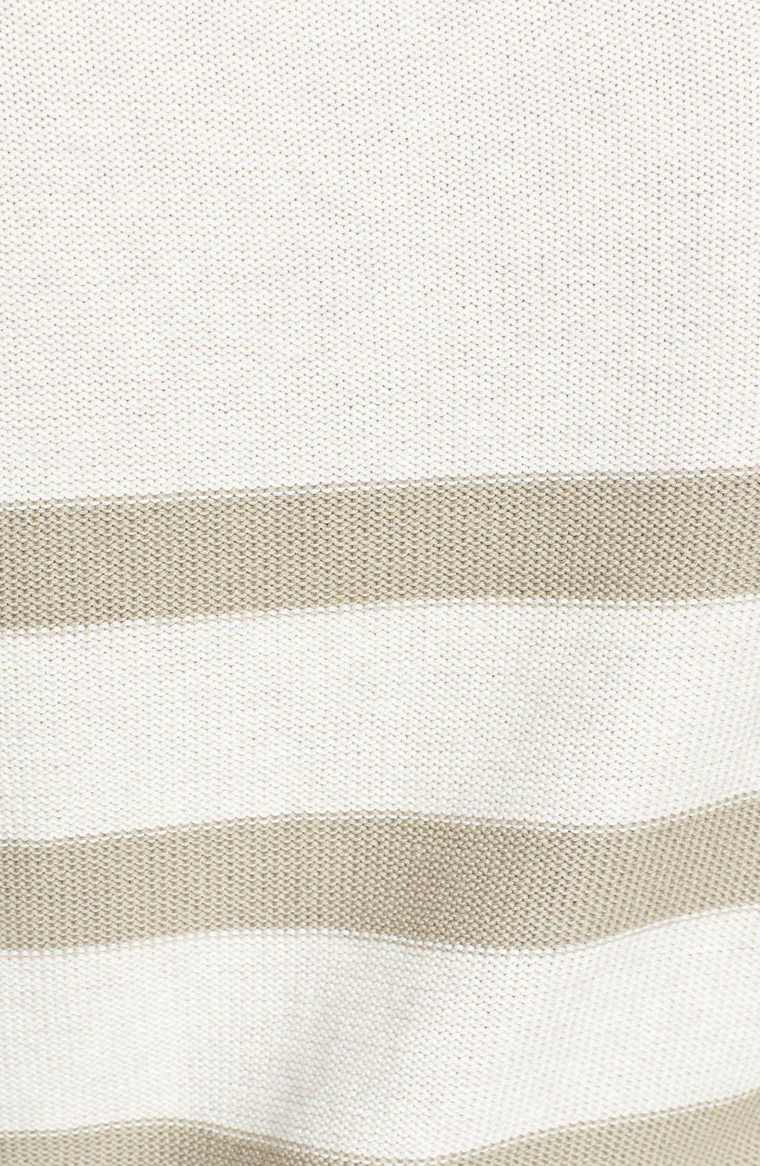 Three Quarter Sleeve Stripe Cotton Sweater,                             Alternate thumbnail 3, color,                             Oatmeal/ Morel Stripe
