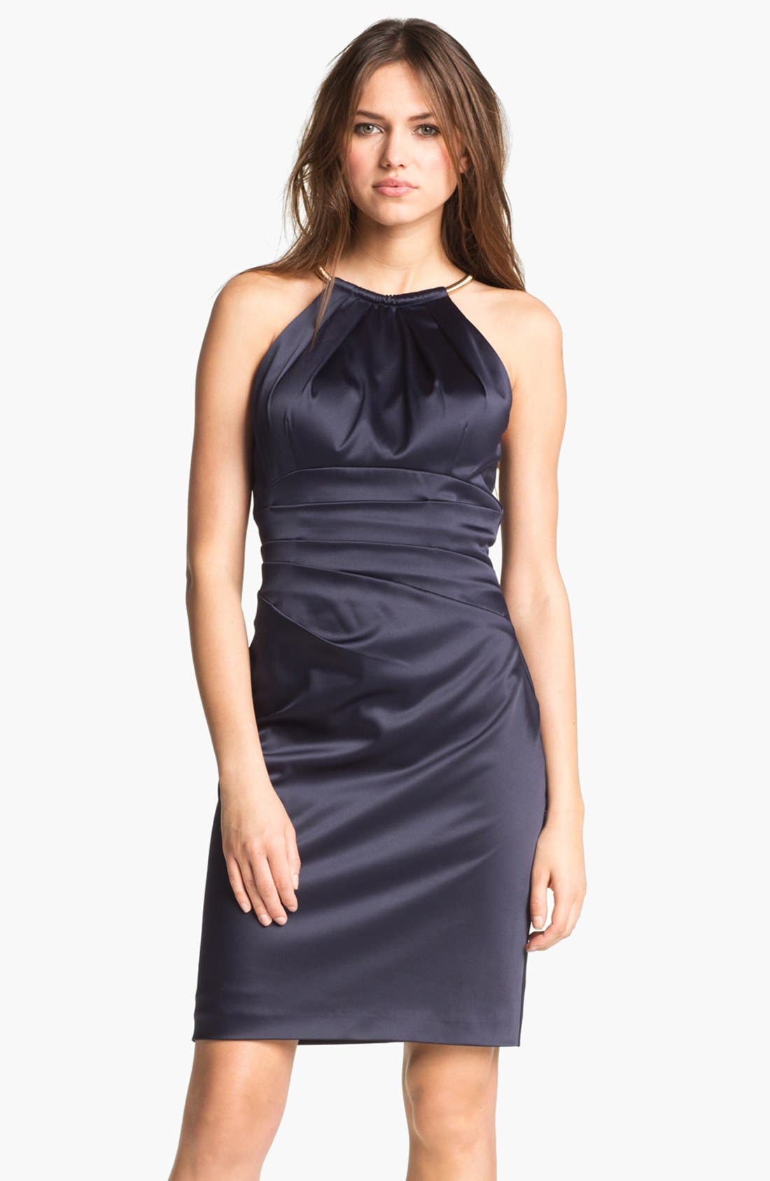 Main Image - Eliza J Pleated Satin Sheath Dress
