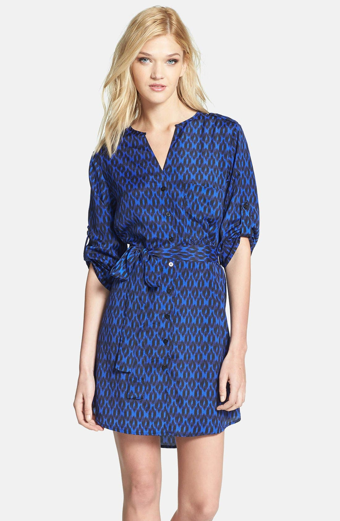 Main Image - Collective Concepts Print Roll Sleeve Crêpe de Chine Shirtdress
