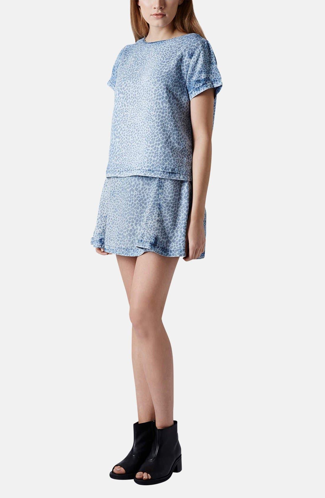 Alternate Image 5  - Topshop Leopard Print Denim Skater Skirt