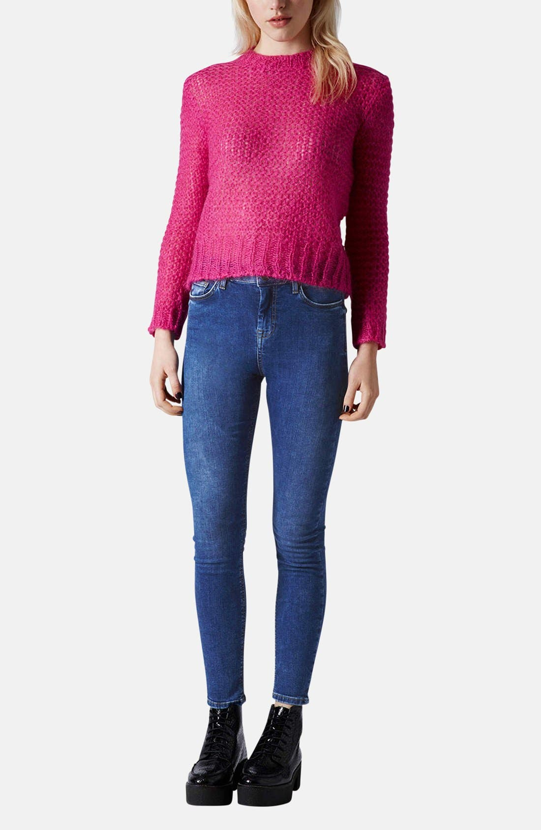 Alternate Image 5  - Topshop Moto 'Jamie' High Rise Skinny Ankle Jeans (Blue) (Regular & Short)