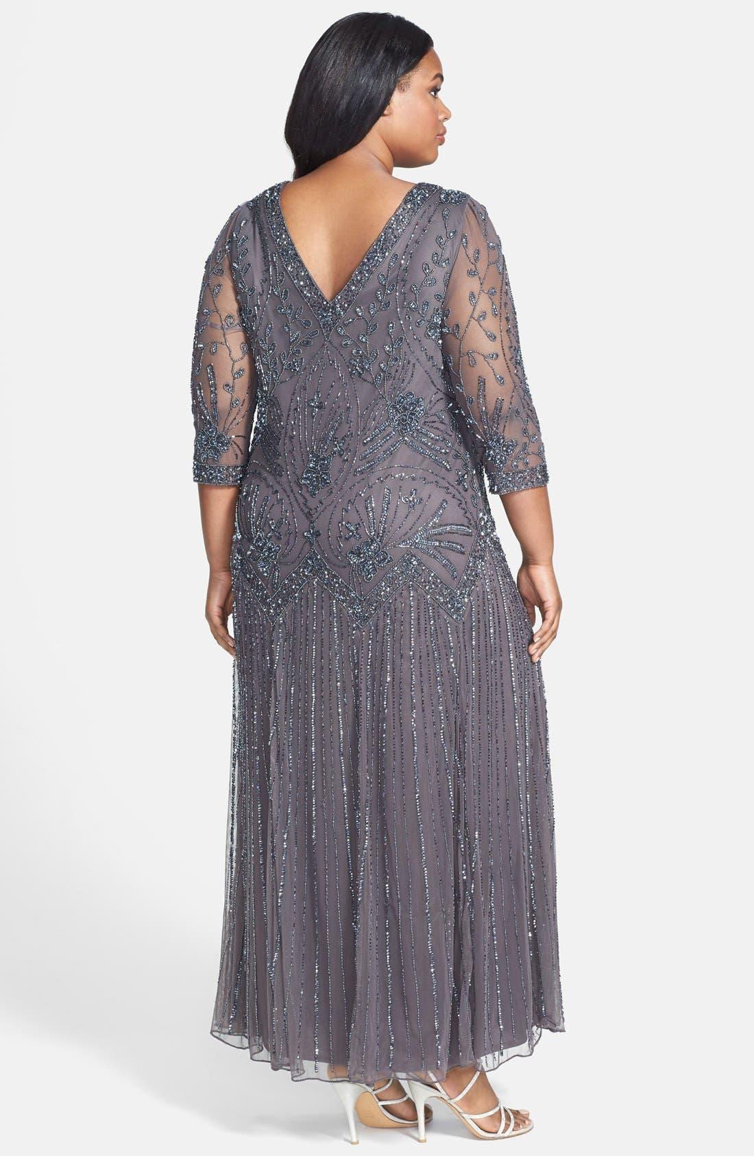 Alternate Image 2  - Pisarro Nights Beaded Mesh Dress (Plus Size)