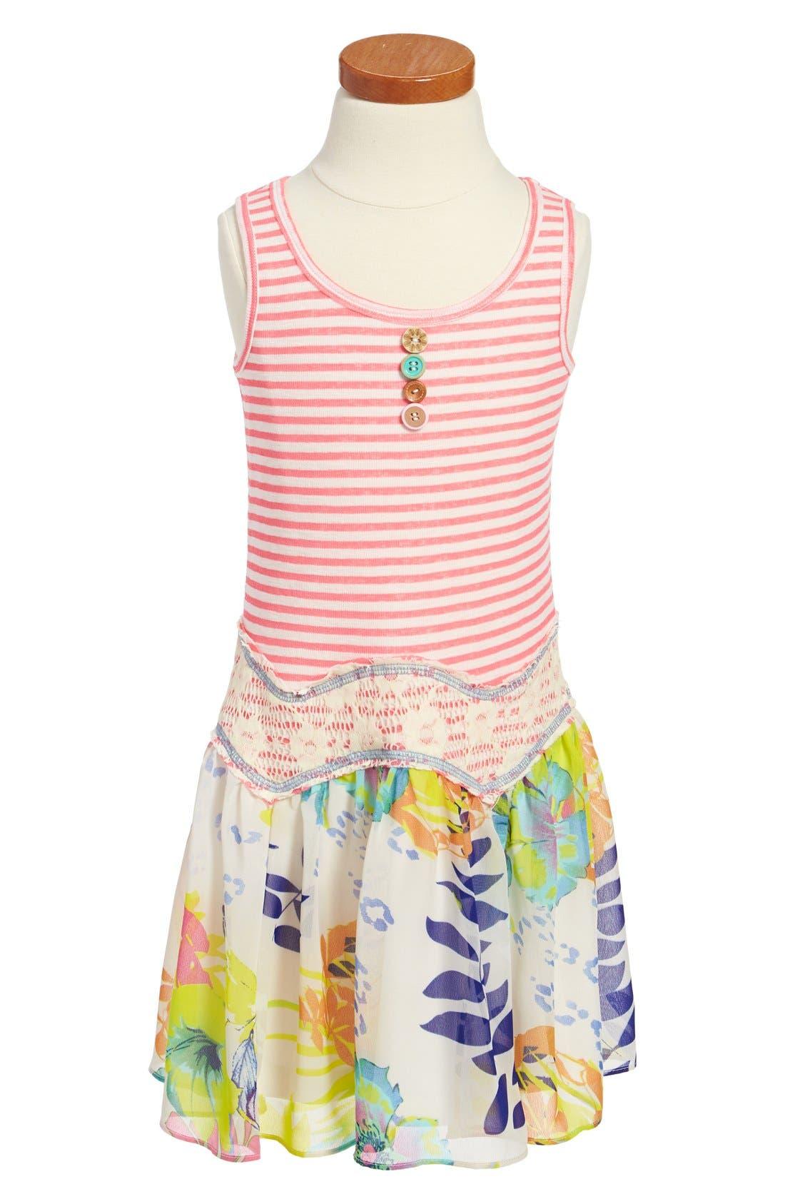 Main Image - Truly Me Drop Waist Dress (Little Girls & Big Girls)
