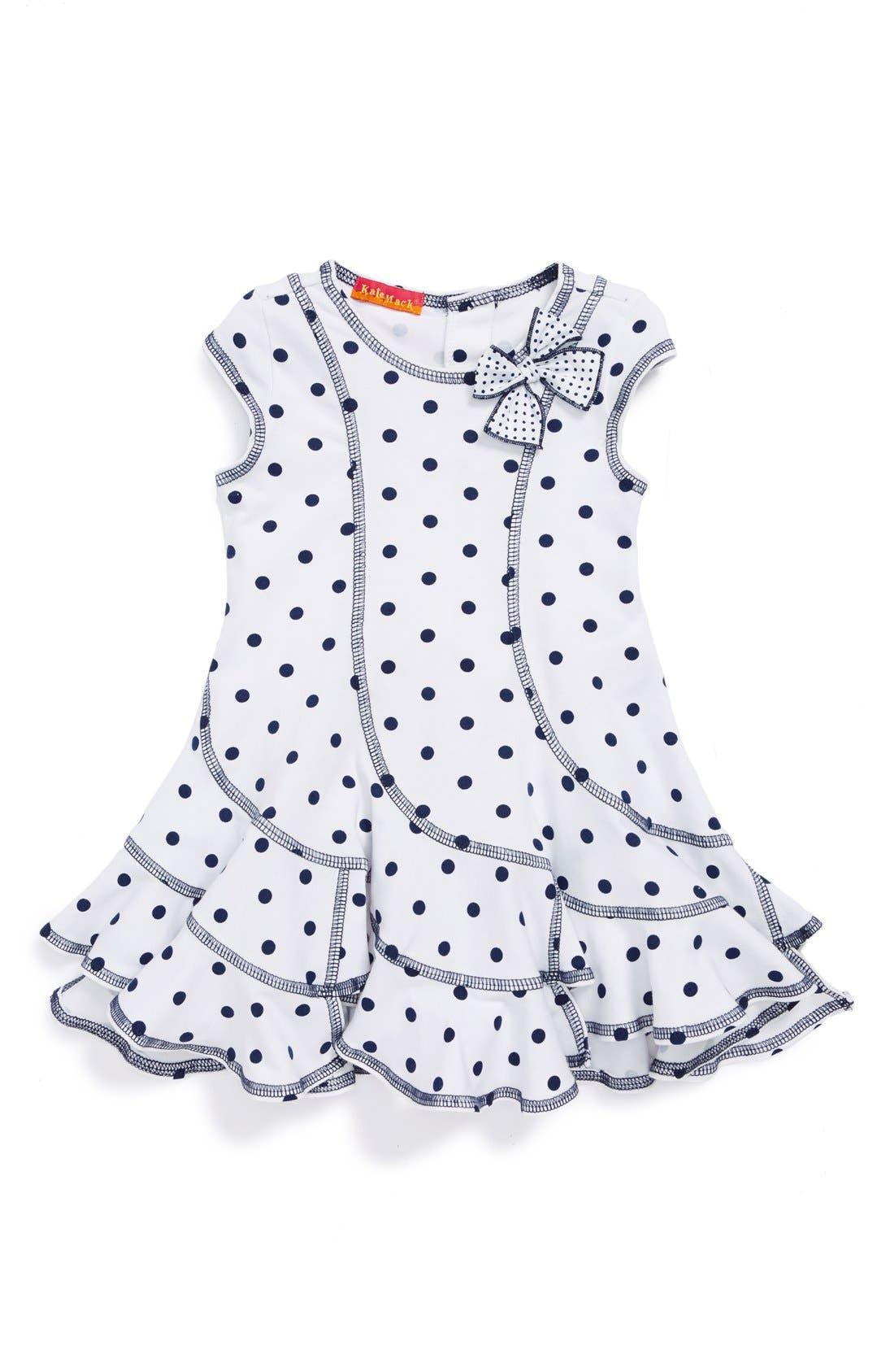 Main Image - Kate Mack Cap Sleeve Ruffle Dress (Baby Girls)