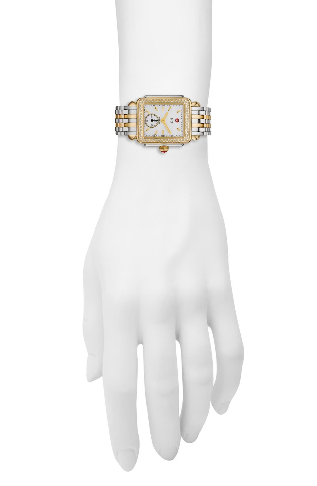 Alternate Image 3  - MICHELE Deco 16 Diamond Two-Tone Watch Head, 29mm x 31mm