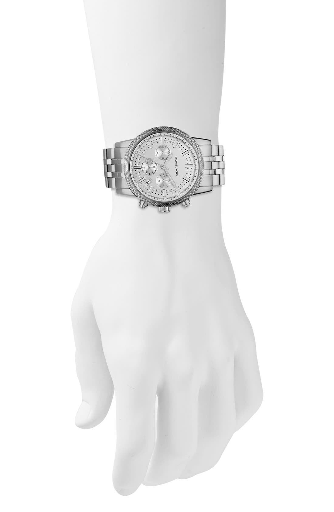 Michael Kors Knurling Edge Stainless Steel Watch, 42mm,                             Alternate thumbnail 2, color,                             Silver