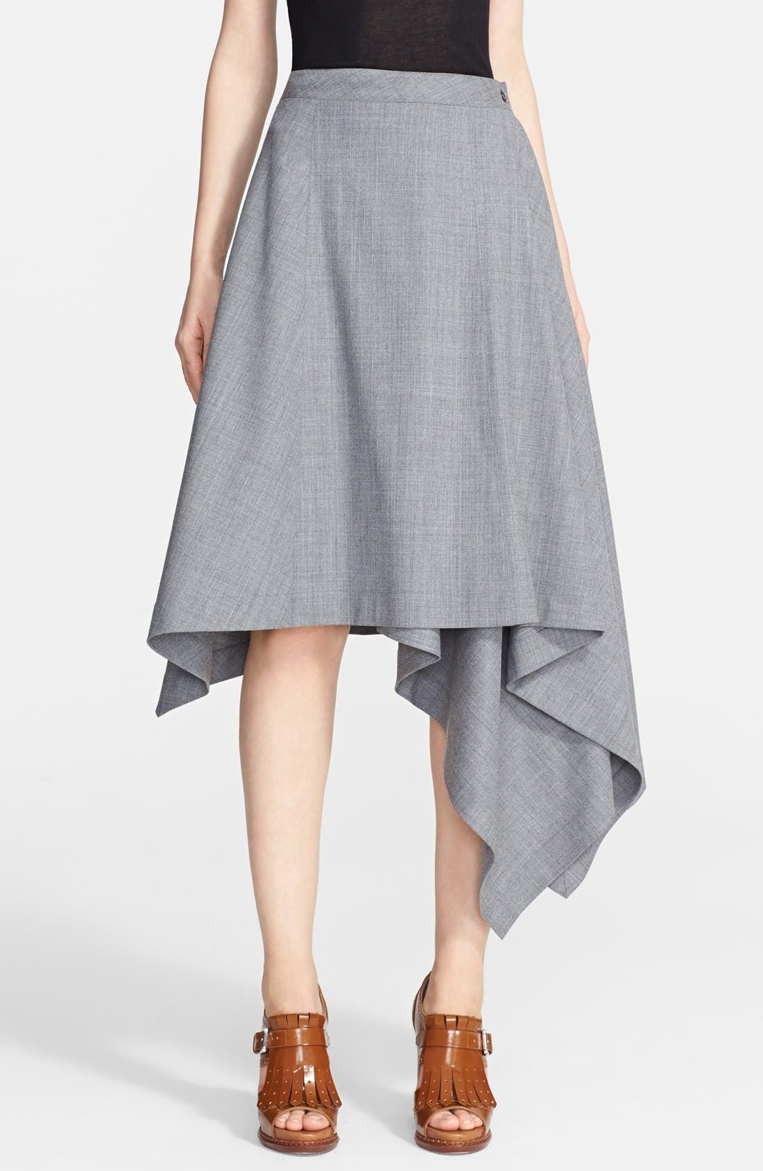 Main Image - Michael Kors Asymmetrical Hem Tropical Wool Skirt
