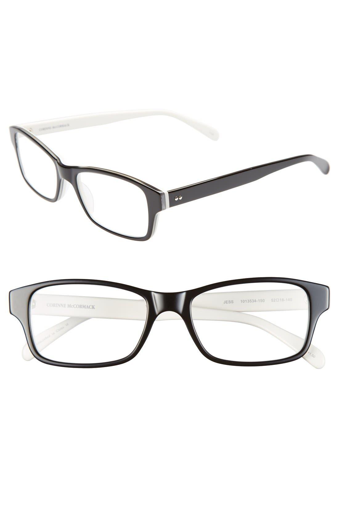 'Jess' 52mm Reading Glasses,                             Main thumbnail 1, color,                             Black/ White