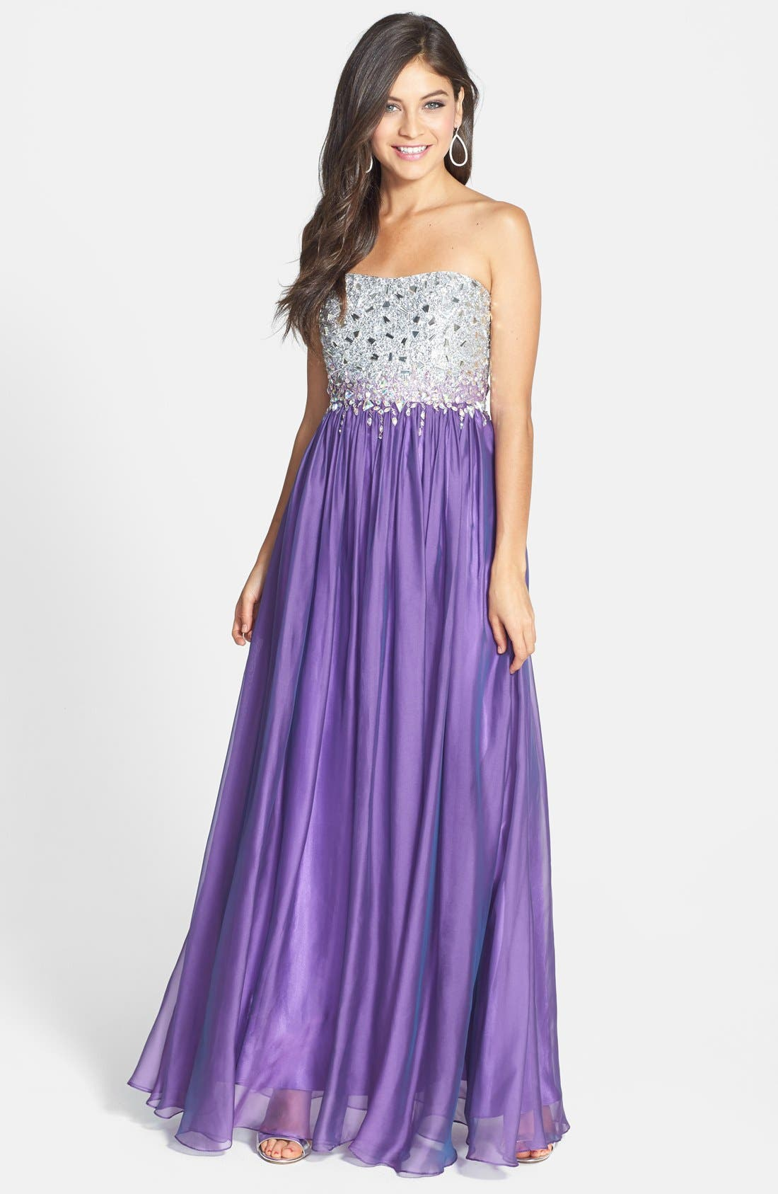 Alternate Image 1 Selected - Sean Collection Embellished Bodice Chiffon Gown