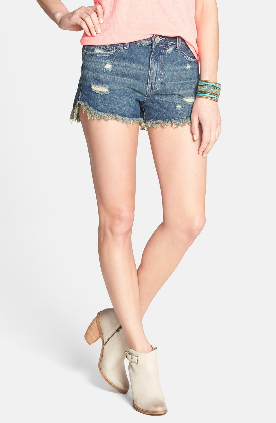 Alternate Image 1 Selected - Free People 'Dolphin' Vintage Denim Cutoff Shorts (Eagle)