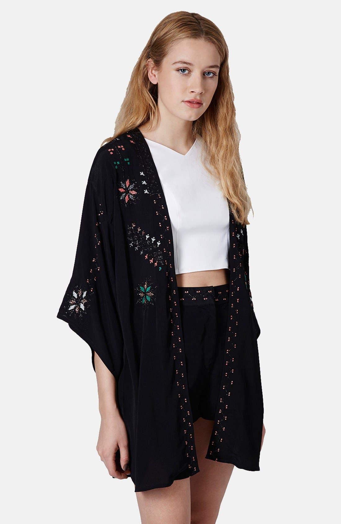 Main Image - Topshop Embroidered Kimono Jacket