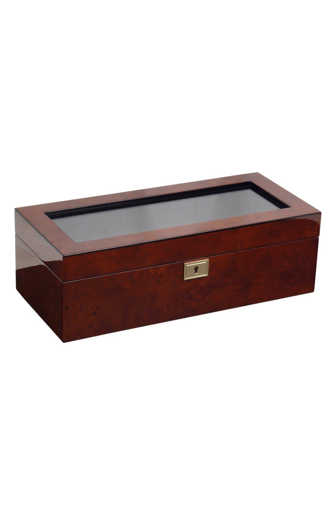 Savoy Five Piece Watch Box,                         Main,                         color, Burlwood