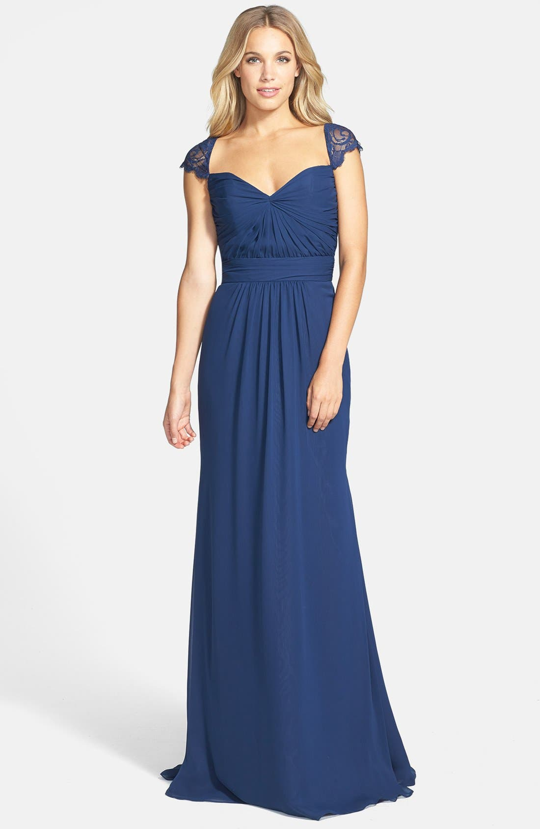 Alternate Image 1 Selected - Jim Hjelm Occasions 'Luminescent' Lace Sleeve Chiffon Gown