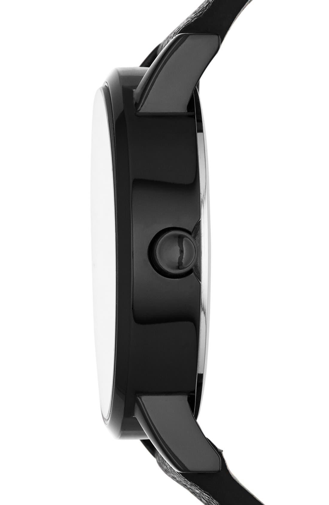 Alternate Image 3  - DKNY 'Soho' Round Leather Strap Watch, 34mm