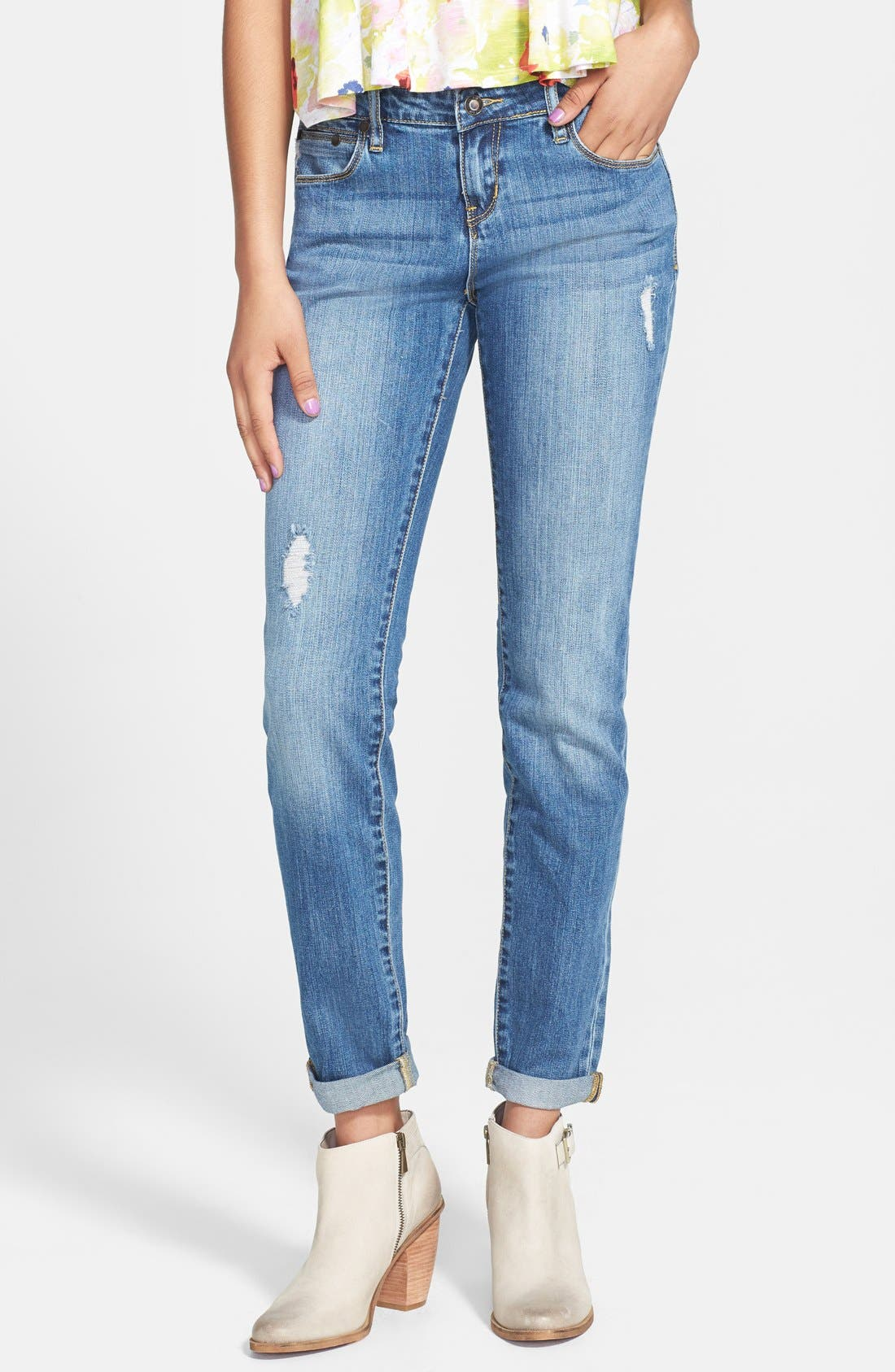 Alternate Image 1 Selected - THIS CITY Destroyed Skinny Boyfriend Jeans (Medium) (Juniors)