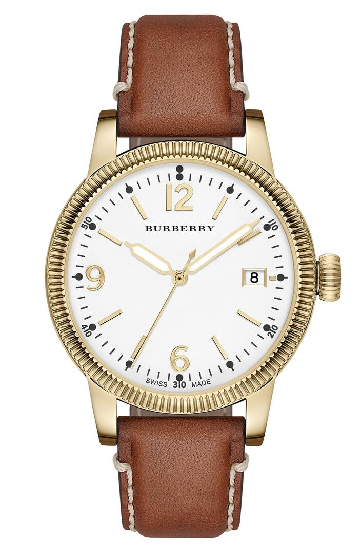 Burberry 39 utilitarian 39 round leather strap watch 38mm nordstrom for Watches 38mm