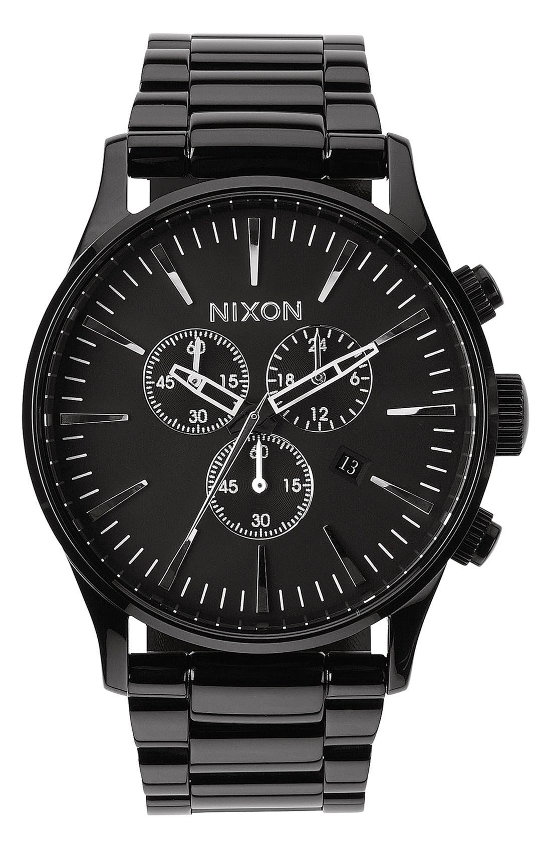 'The Sentry' Chronograph Bracelet Watch, 42mm,                         Main,                         color, All Black