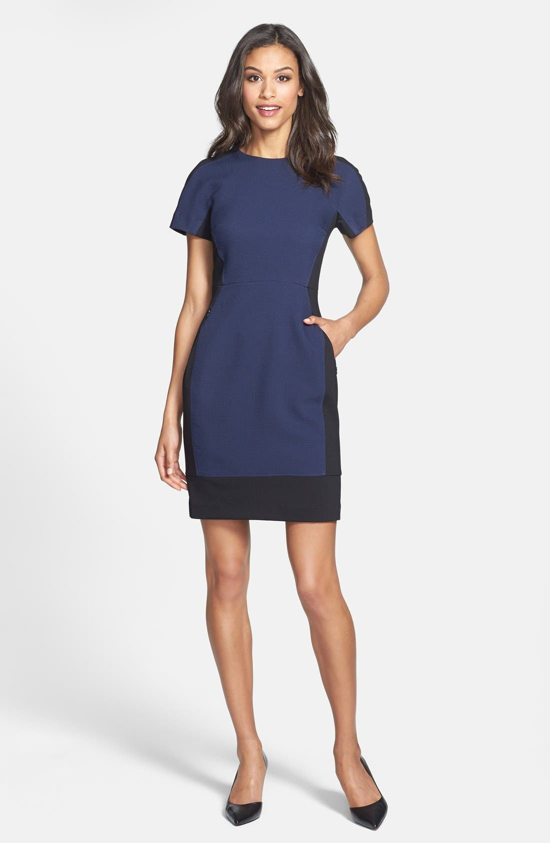 Alternate Image 1 Selected - Halogen® Colorblock Mixed Media Sheath Dress (Regular & Petite)
