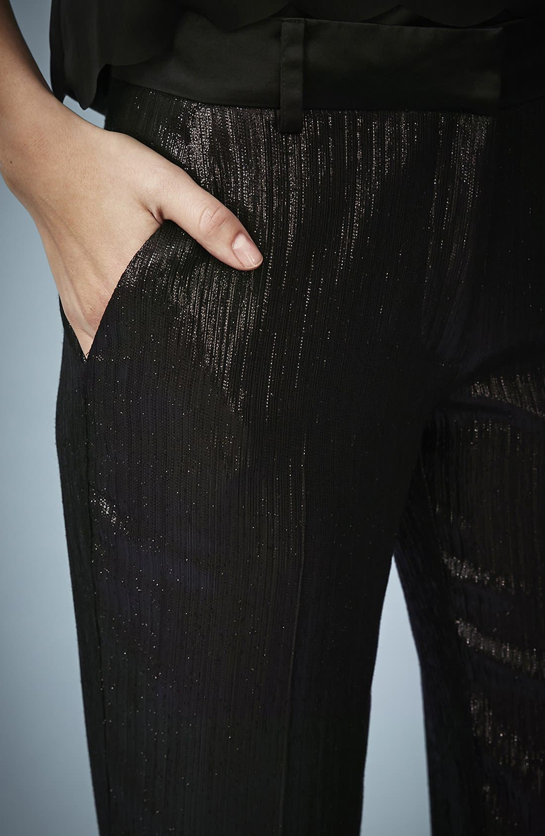 Alternate Image 4  - Kate Moss for Topshop Lamé Tuxedo Pants