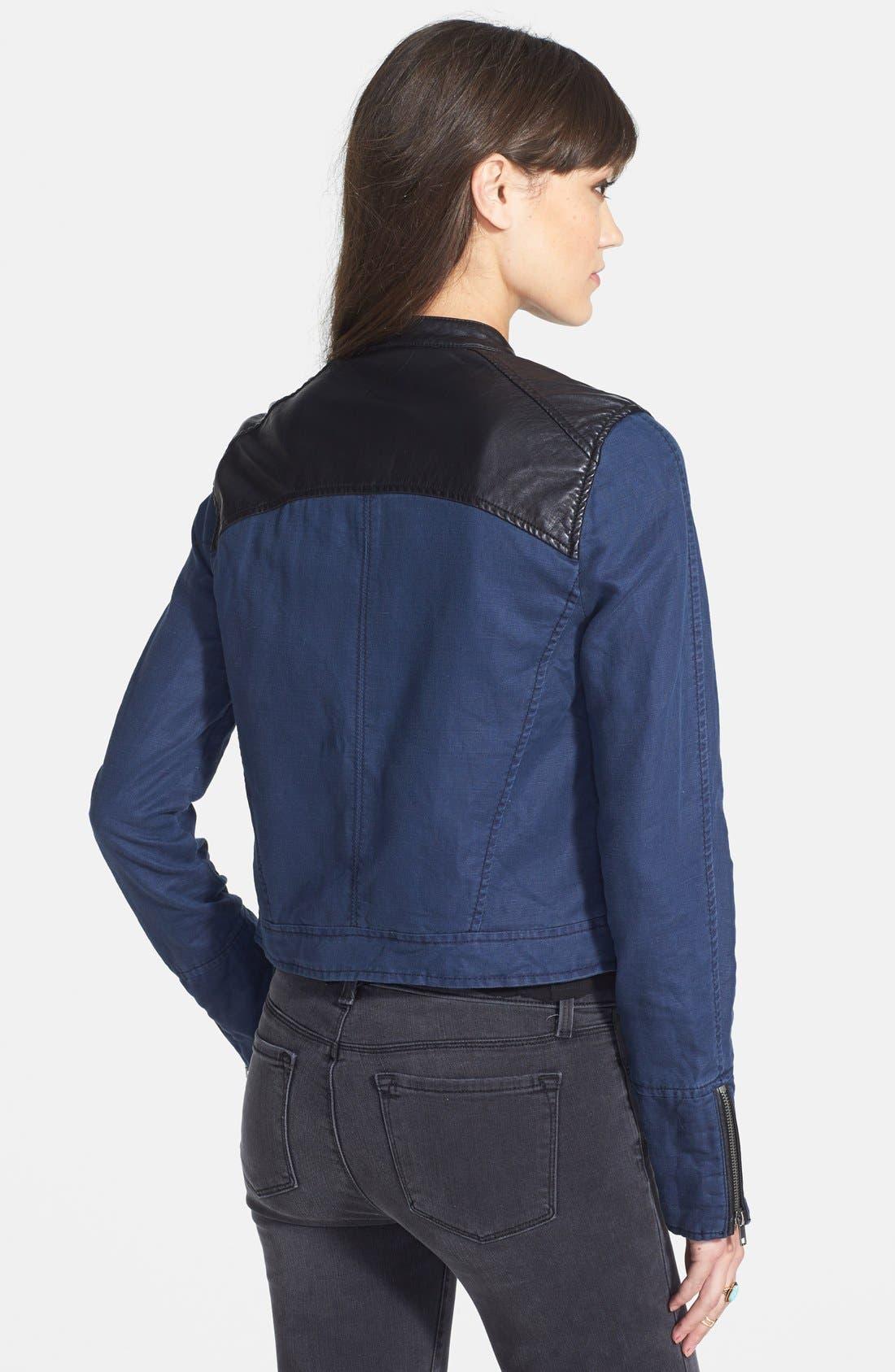 Faux Leather & Linen Blend Moto Jacket,                             Alternate thumbnail 2, color,                             Indigo