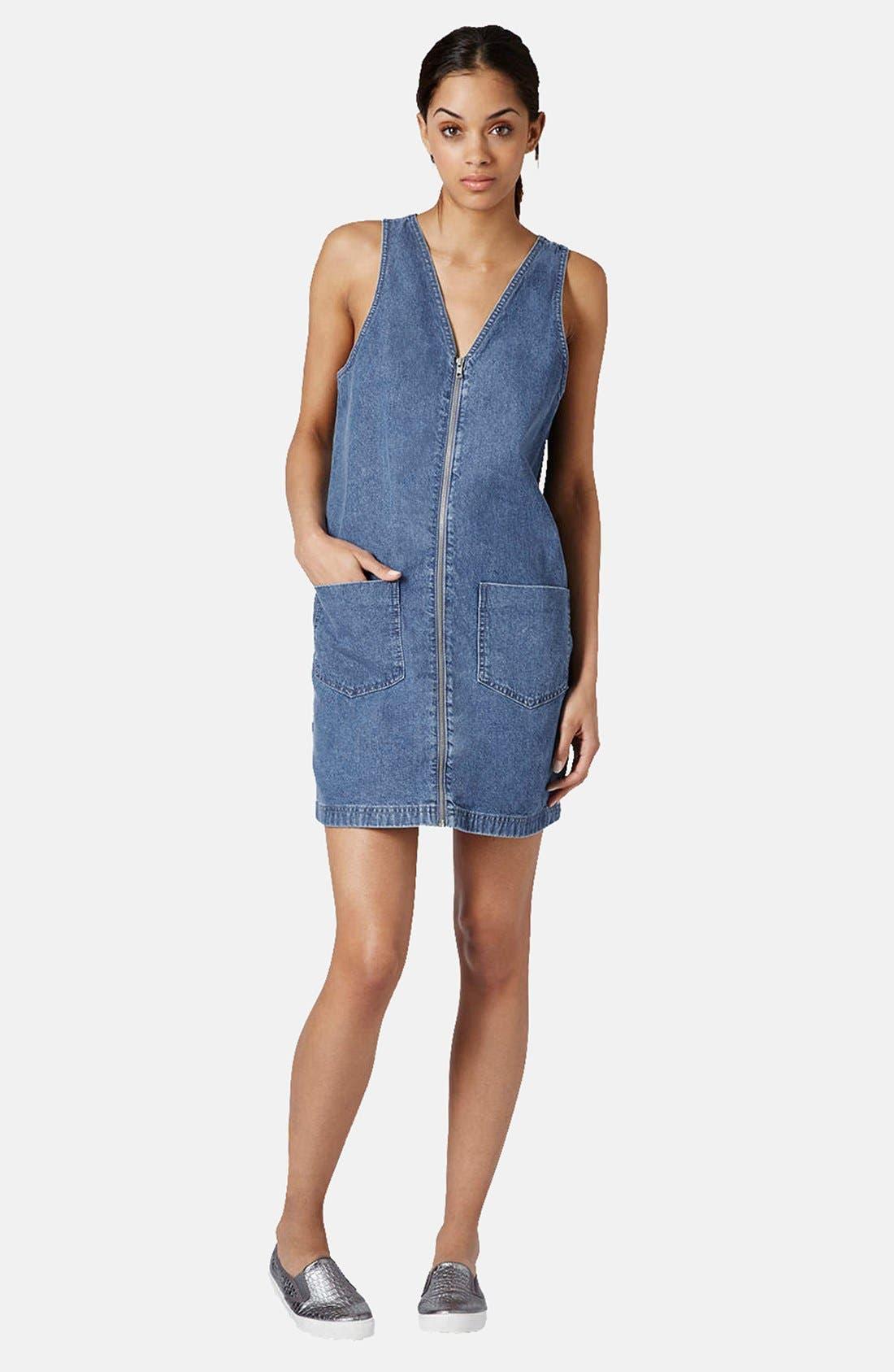 Alternate Image 5  - Topshop Zip Front Denim Dress