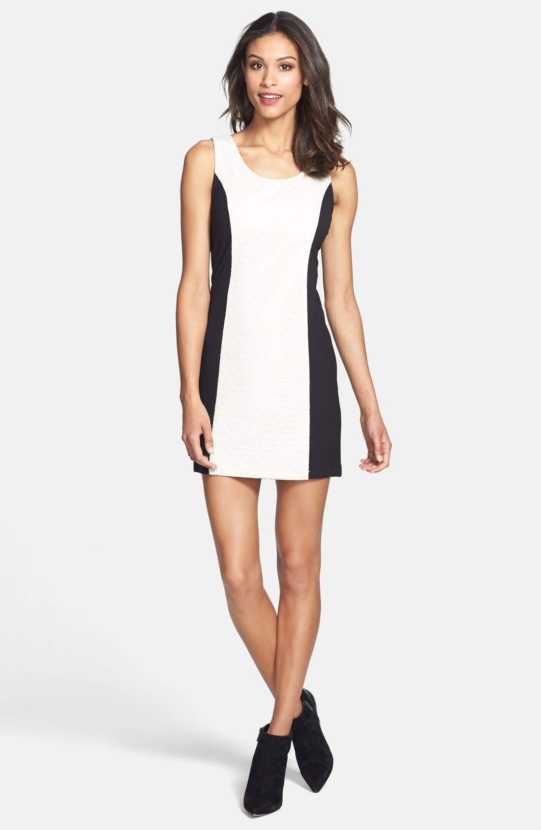 Alternate Image 1 Selected - kensie Textured Front Ponte Knit Minidress (Online Only)
