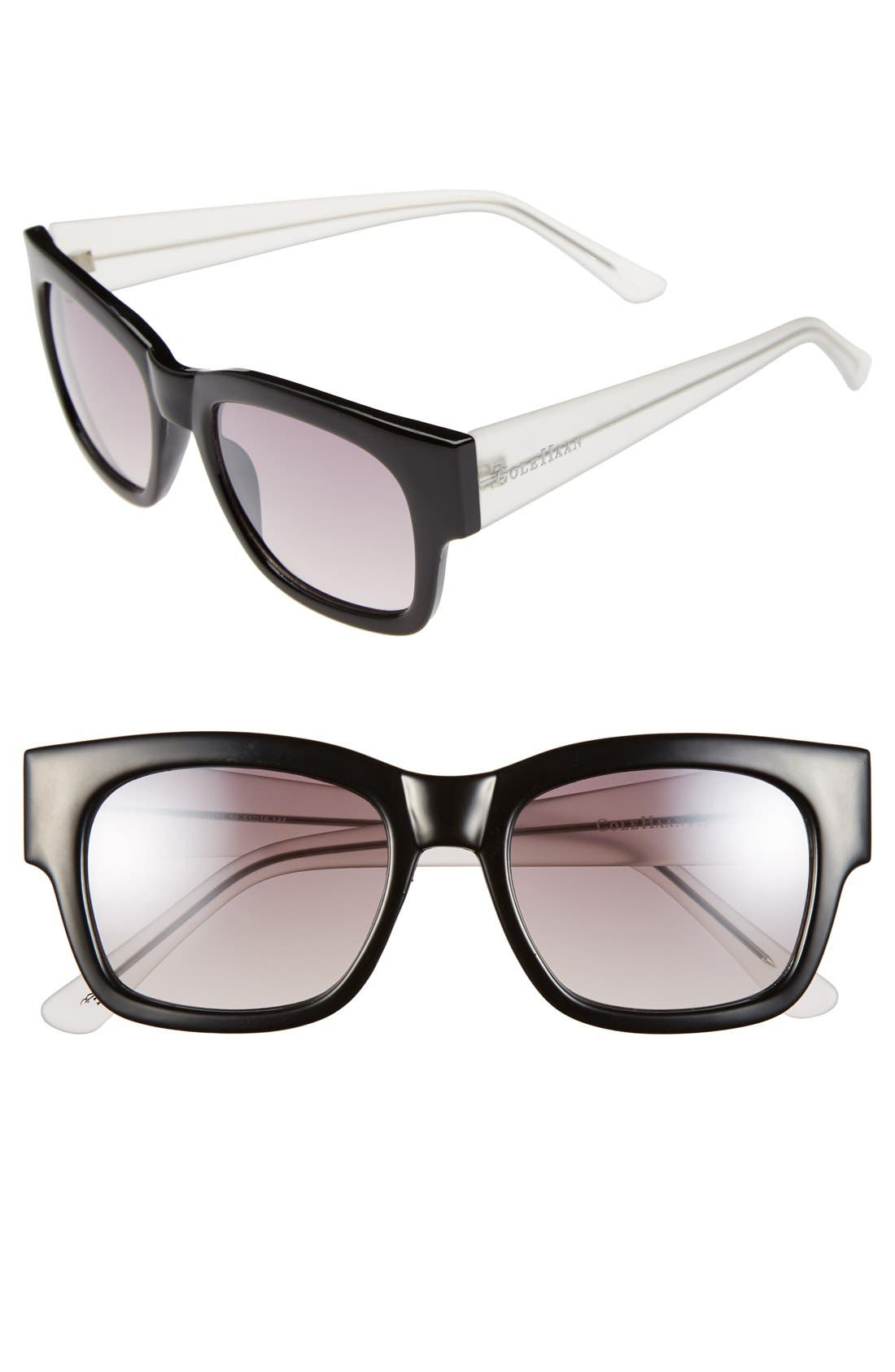 51mm Rectangular Sunglasses,                         Main,                         color, Black