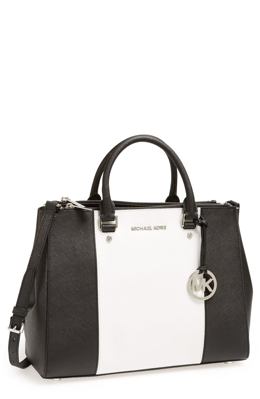 Alternate Image 1 Selected - MICHAEL Michael Kors 'Large Sutton Center Stripe' Saffiano Leather Tote