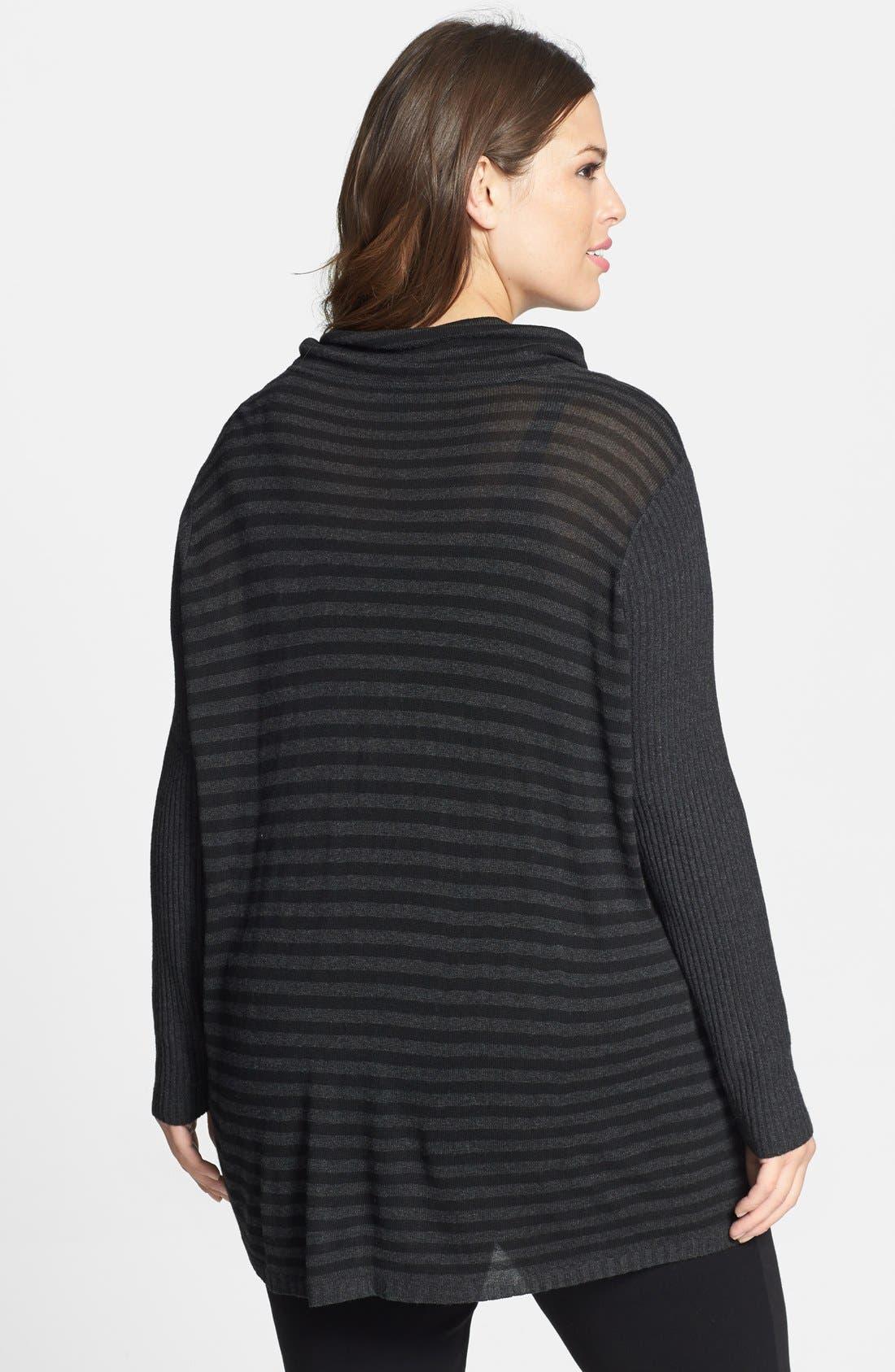 Alternate Image 2  - Eileen Fisher Scrunch Neck Stripe Sweater (Plus Size)