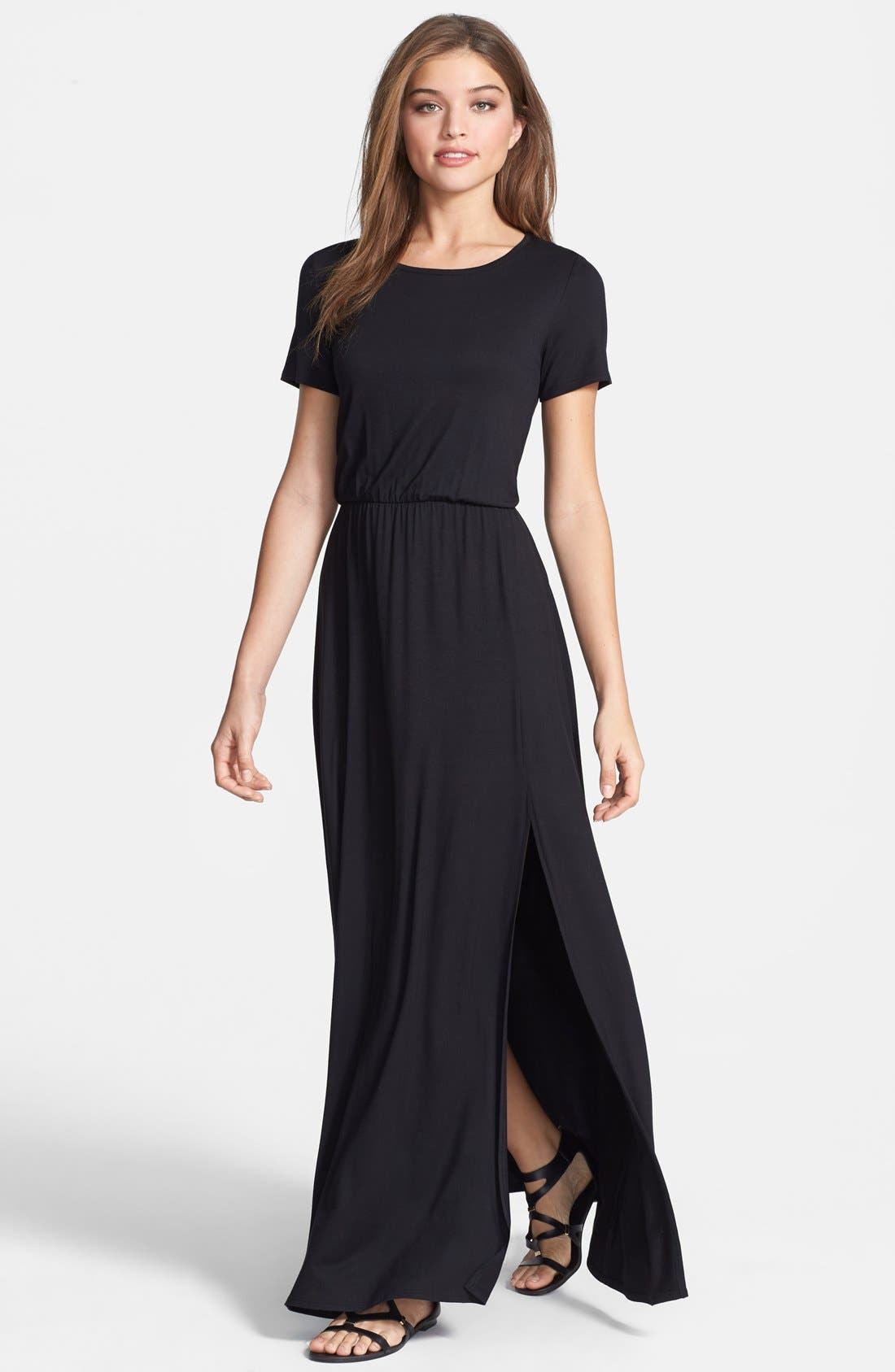 Alternate Image 1 Selected - Loveappella Cinch Waist Stretch Knit Maxi Dress