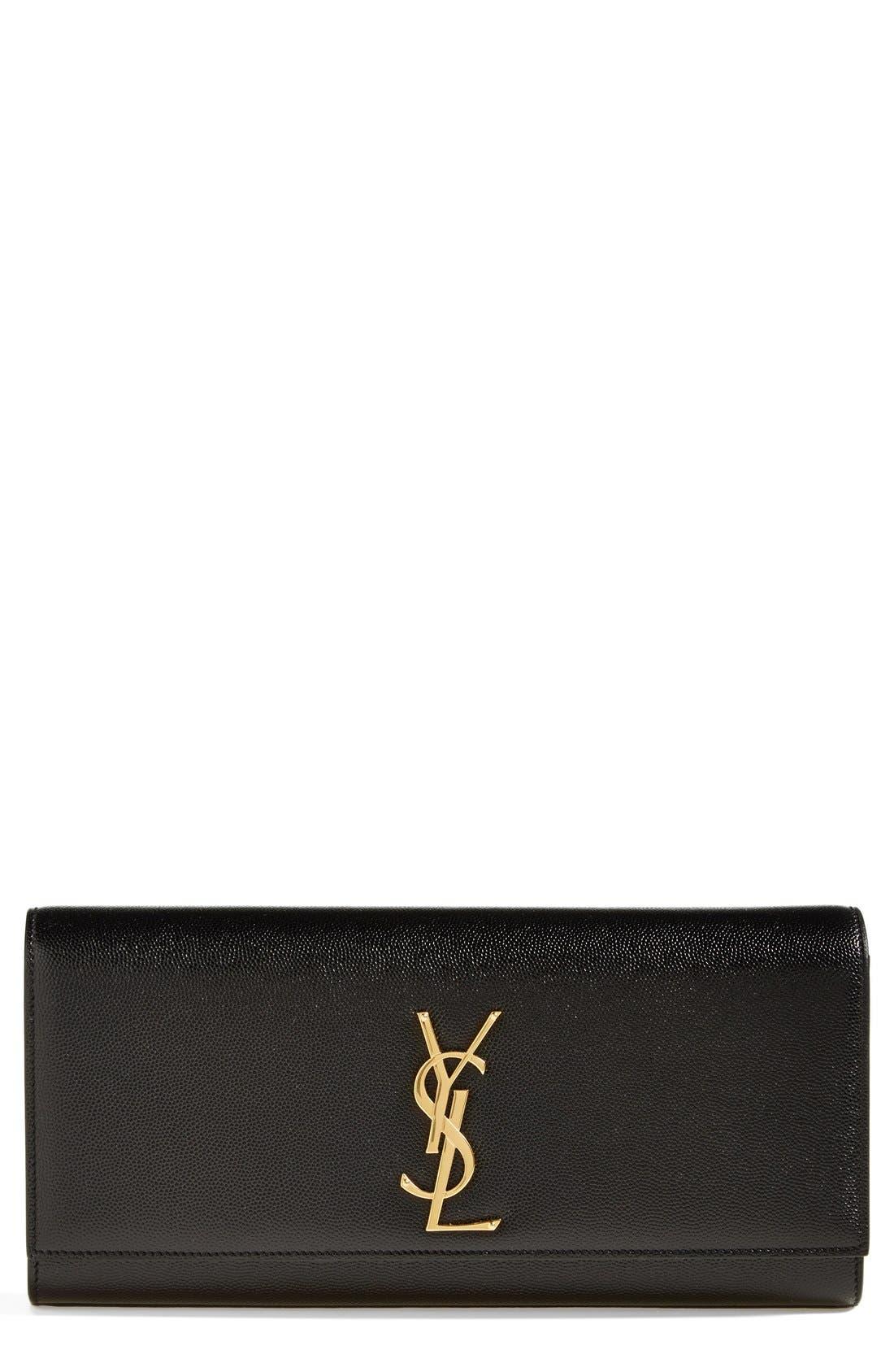 Main Image - Saint Laurent 'Monogram' Leather Clutch