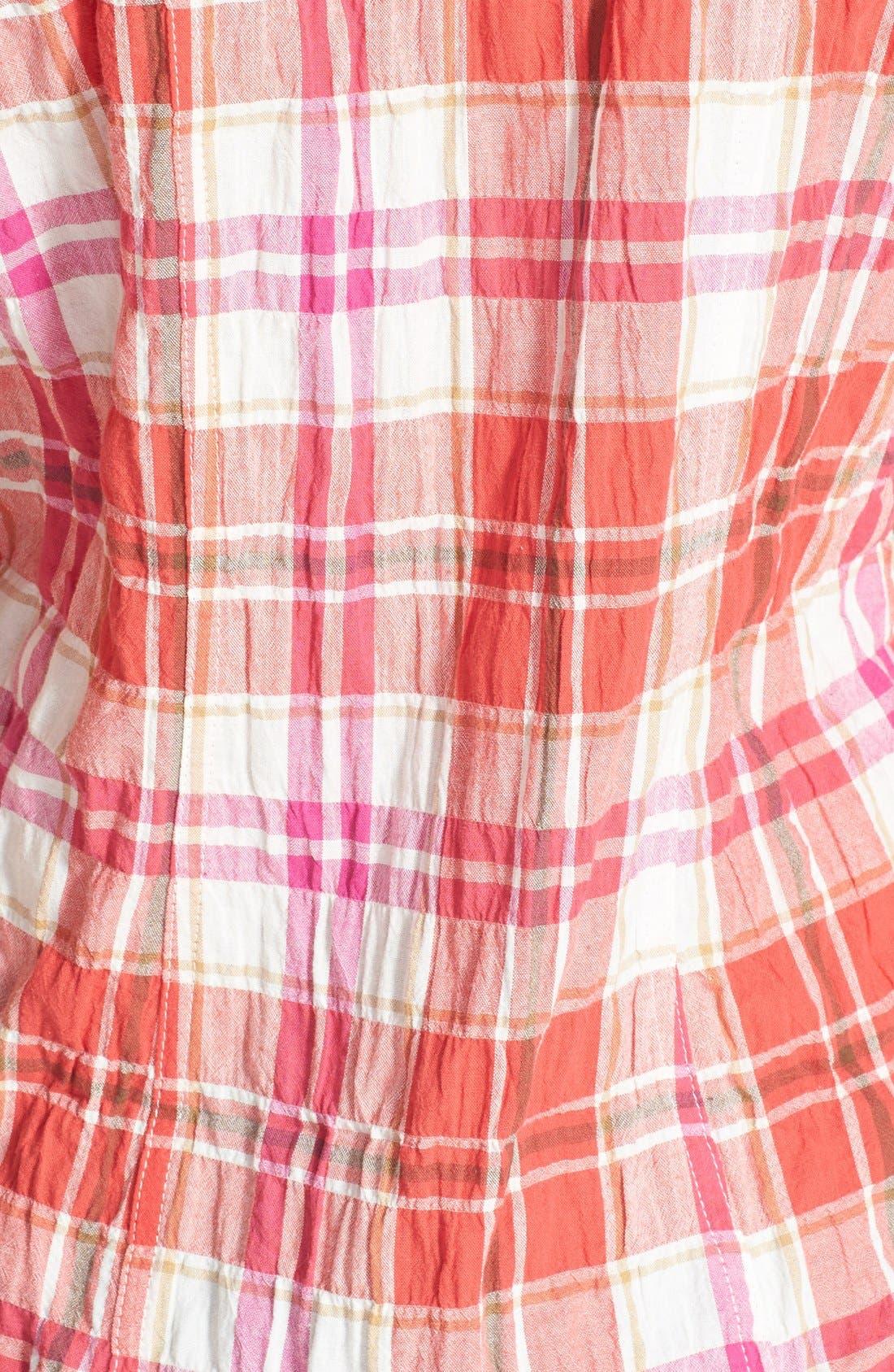 Alternate Image 3  - Sandra Ingrish Sleeveless Plaid Crinkle Cotton Shirt (Regular & Petite)