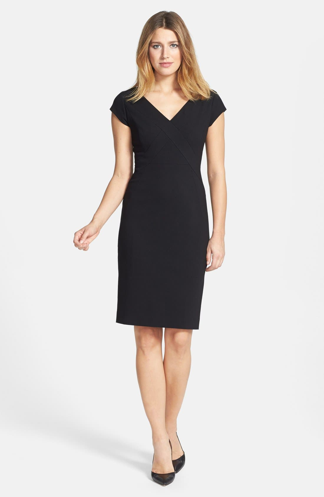 Main Image - Classiques Entier® Ponte Knit V-Neck Sheath Dress (Regular & Petite)