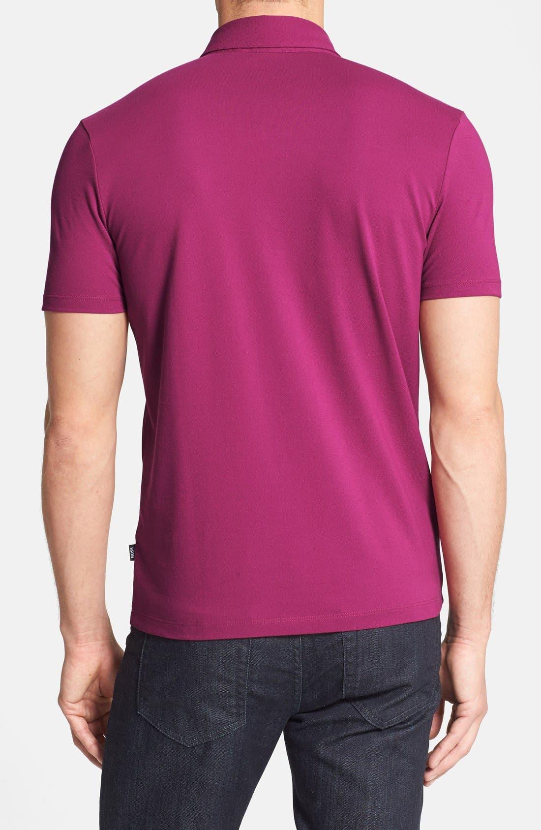 HUGO BOSS 'Firenze 43' Regular Fit Jersey Polo,                             Alternate thumbnail 2, color,                             Berry