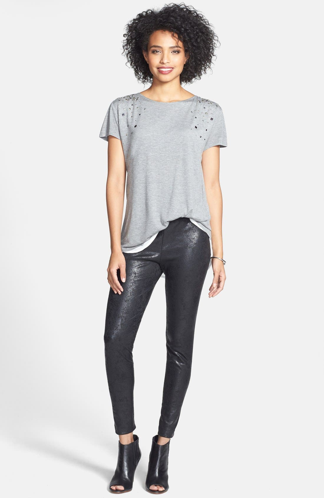Alternate Image 3  - Two by Vince Camuto Embellished Jersey & Chiffon Tee