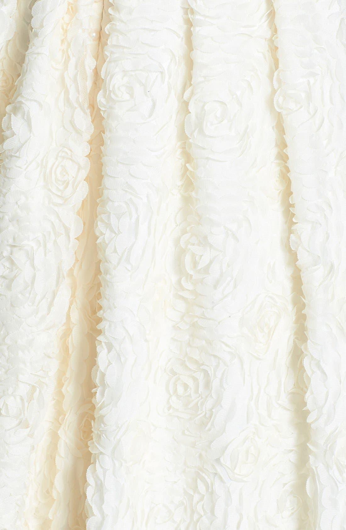 Delia Rosette Silk Blend Lace Chiffon Dress,                             Alternate thumbnail 3, color,                             Dark Ivory
