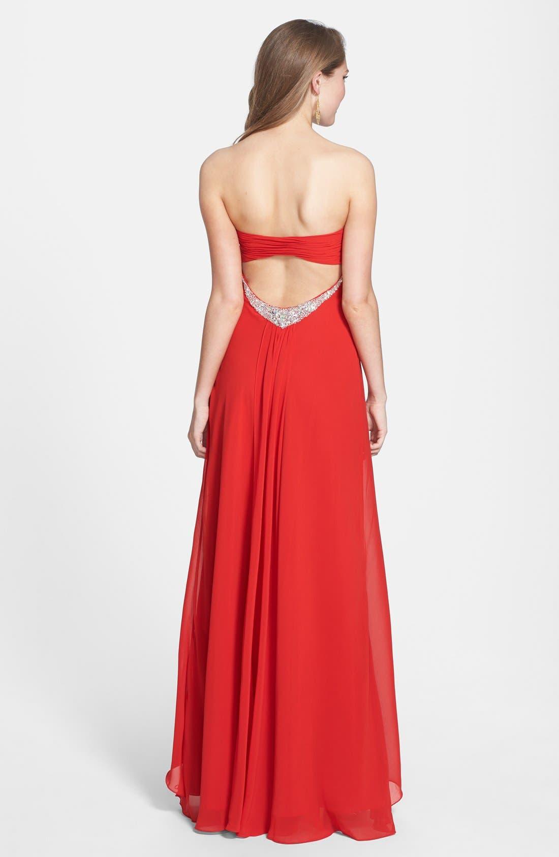 Alternate Image 2  - Faviana Jeweled Layered Chiffon Gown (Online Exclusive)