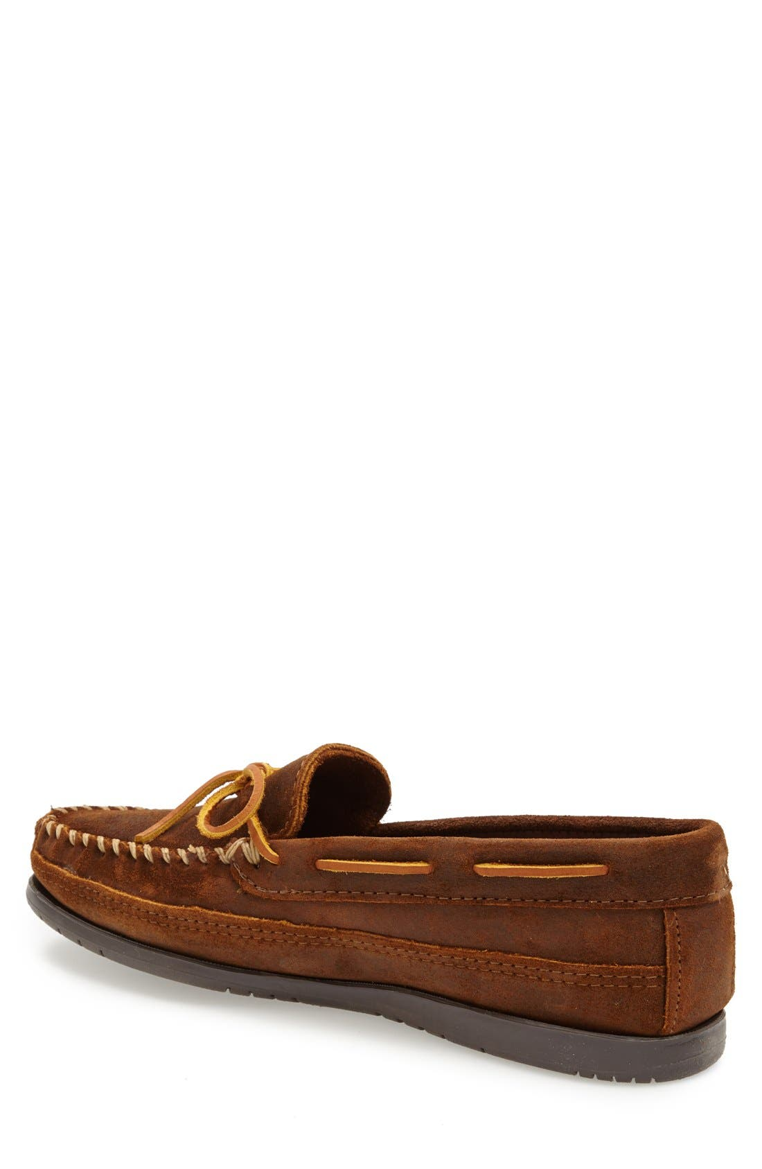 Leather Moccasin,                             Alternate thumbnail 2, color,                             Brown Ruff