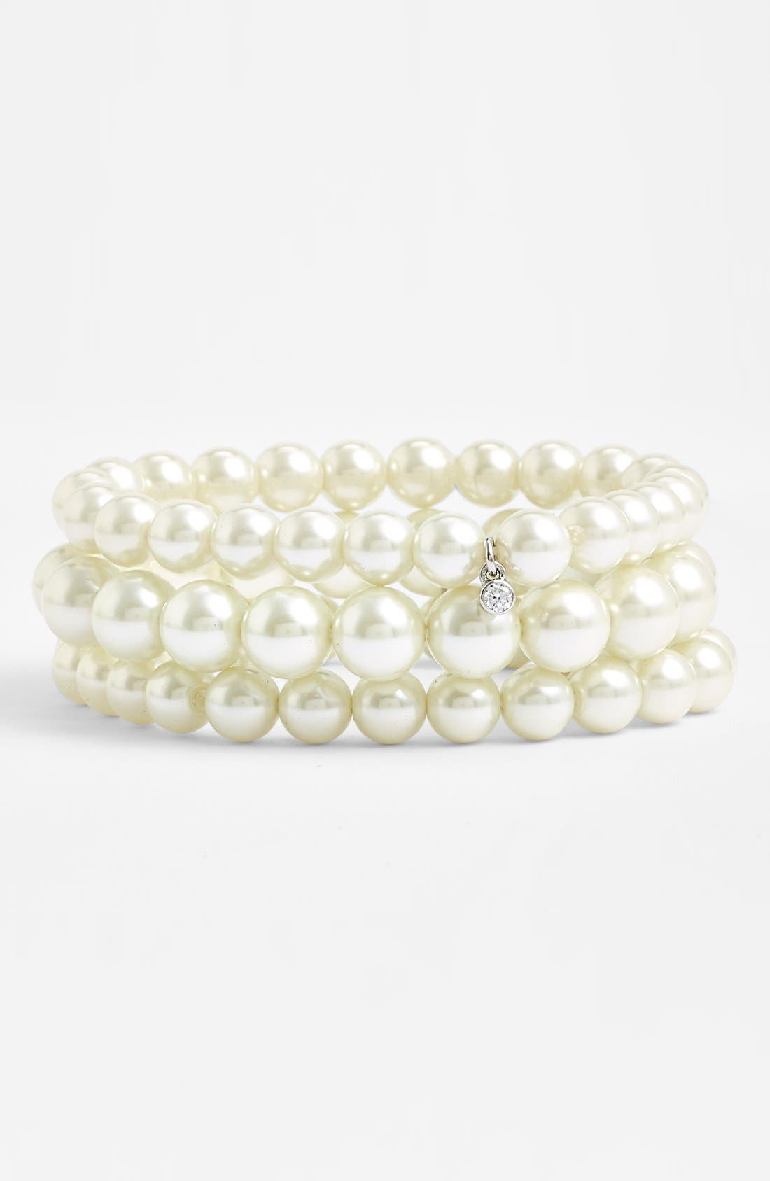 Glass Pearl Stretch Bracelets,                         Main,                         color, White Pearl/ Silver