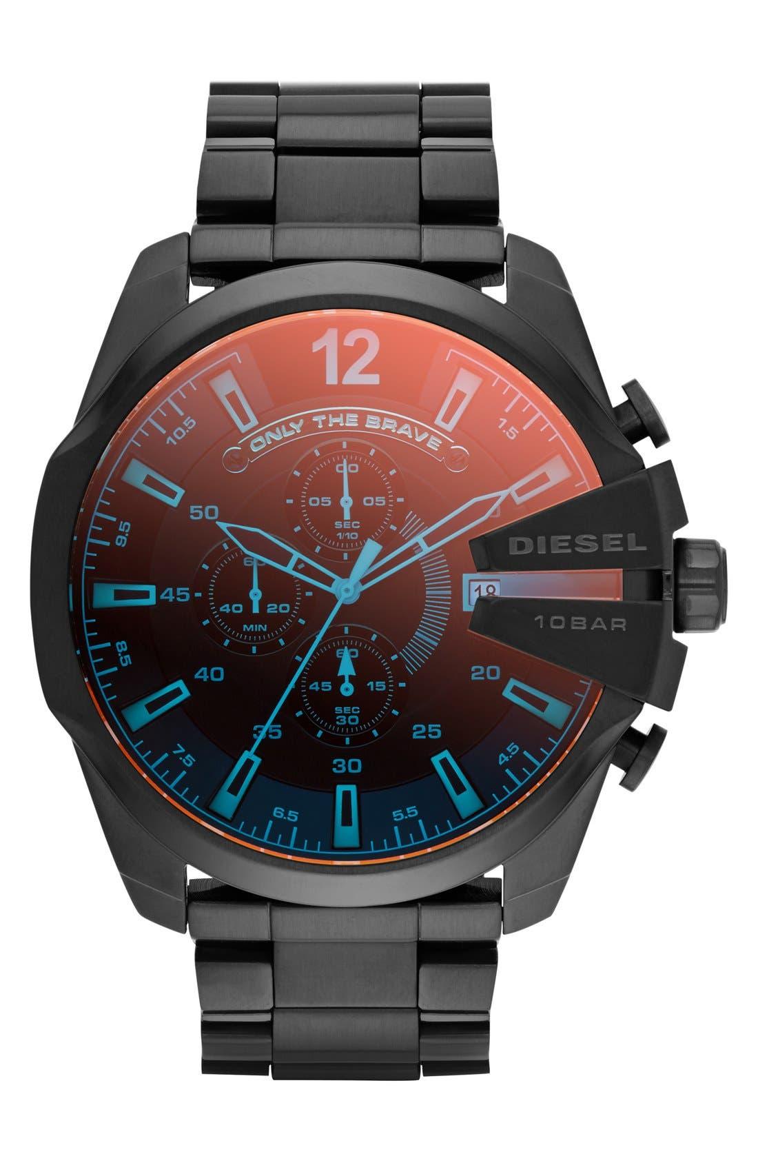 'Mega Chief' Chronograph Bracelet Watch, 51mm,                         Main,                         color, Black/ Iridescent Crystal