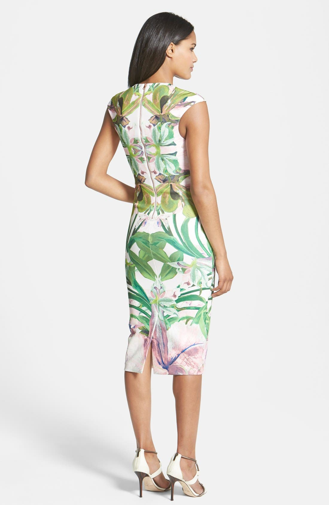 'Jungle Orchid' Print Dress,                             Alternate thumbnail 2, color,                             Shell